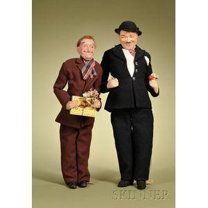 Pair of Bernard Ravca Laurel and Hardy Dolls