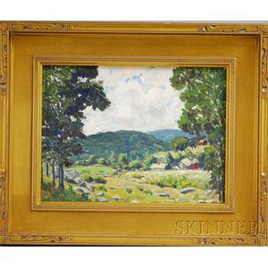 Edgar Otis Miner (American, 1915-2003)      Vermont Landscape with Red Barns