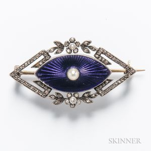 Antique Gold and Sterling Silver, Guilloche Enamel, Diamond, and Pearl Brooch