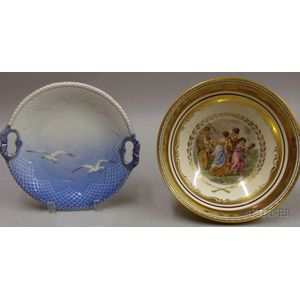 Royal Copenhagen Gilt and Decorated Bowl and Blue and White Tray