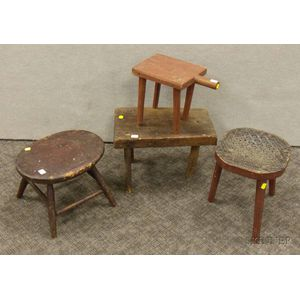 Four Mostly Red-painted Wooden Footstools