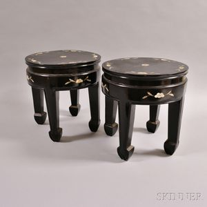 Pair of Lacquered Wood Stands