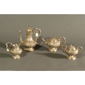 S. Kirk & Son Co. Four Piece Sterling Repousse Tea and Coffee Set