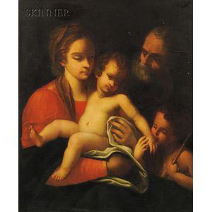 Italian School, 16th Century Style      Holy Family with Saint John the Baptist