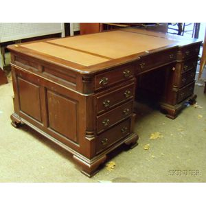 Georgian-style Mahogany Leather-inset Flat-top Double-pedestal Partners Desk.