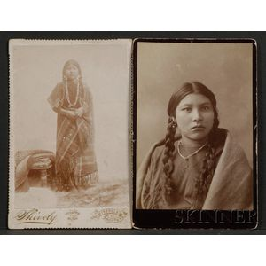 Two Cabinet Card Photographs of Crow Women