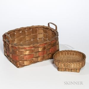 Two Decorated Native Ash Splint Baskets