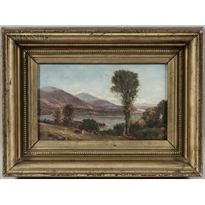 American School, 19th Century      Harbor Landscape with Grazing Cow