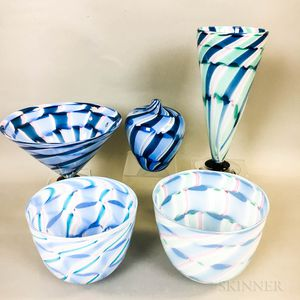 Five Charlie Meaker Studio Art Glass Pieces