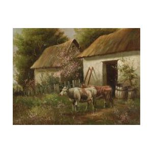 Continental School, 19th/20th Century  Country Cottage with Cows