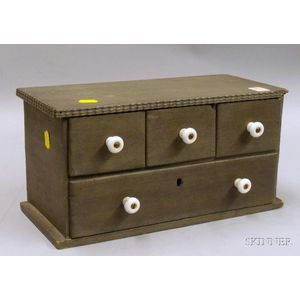 Small Green-painted Wooden Four-Drawer Cabinet