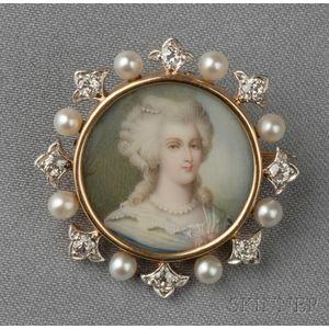 Antique 18kt Gold and Portrait Miniature Pendant/Brooch, Jacques & Marcus