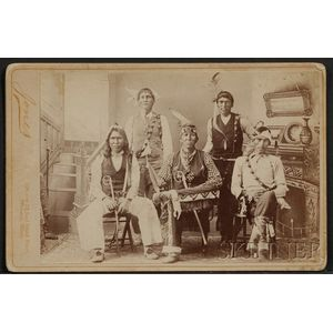 Cabinet Card of Five American Indian Men