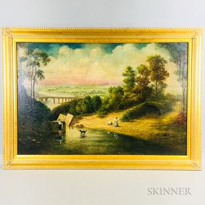 British School, 19th Century Style    Riverside Scene with Figures and Dog