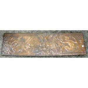 Repousse Copper Bacchanal Scene Decorated Panel