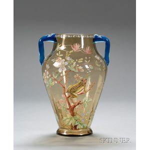 Late Victorian Enamel Decorated Art Glass Vase