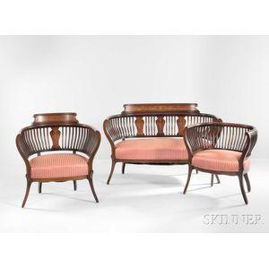 Edwardian Inlaid Mahogany Three-piece Salon Suite