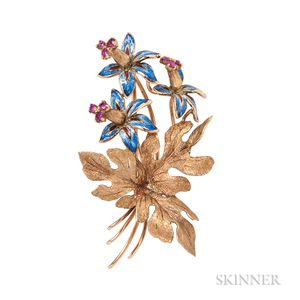 18kt Gold and Enamel Flower Brooch