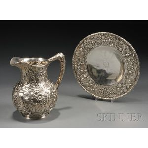 S. Kirk & Son Sterling Repousse Water Pitcher and Cake Plate