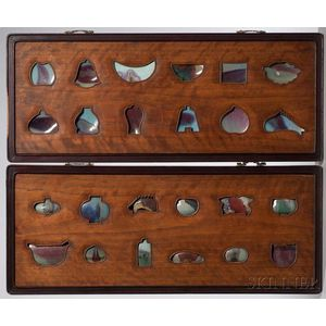 Pair of Framed Panels with Jun Ware Shards