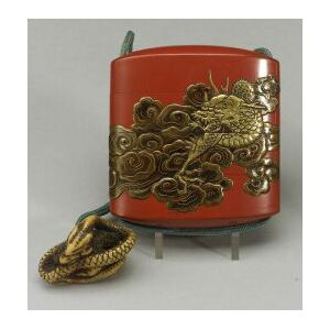 Red Lacquer Inro and a Bone Netsuke