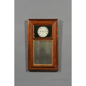 Rosewood Looking Glass Clock Signed T. Smith