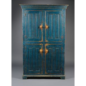 Country Blue-painted Pine Cupboard with Four Paneled Doors