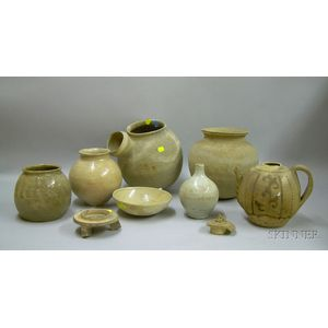 Approximately Eight Korean Glazed and Unglazed Pottery Vessels.