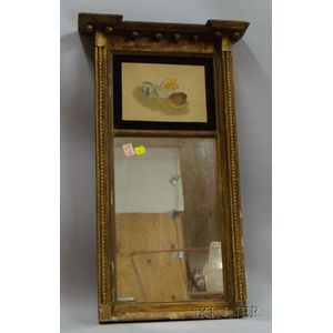 Federal Giltwood Tabernacle Mirror with Watercolor Panel Depicting Seashells