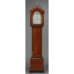 Federal Carved Mahogany Tall Case Clock