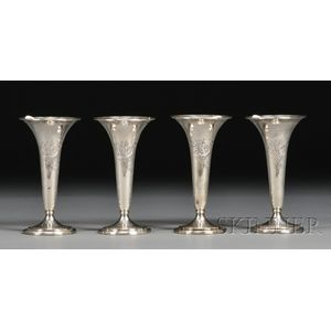 Set of Four S. Kirk & Son Sterling Trumpet-shaped Vases