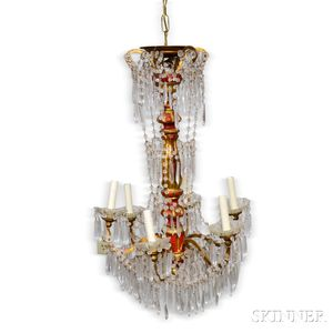 Painted and Gilt Brass Chandelier.     Estimate $800-1,200