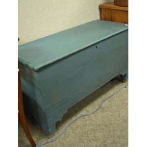 Blue Painted Wooden Blanket Chest.