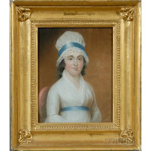 Irish School, 19th Century      Portrait of a Woman in White Dress and  Bonnet with a Blue Sash.