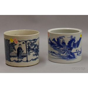 Two Blue and White Asian Brush Pots