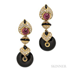 18kt Gold, Onyx, Pink Tourmaline, and Diamond Drop Earrings