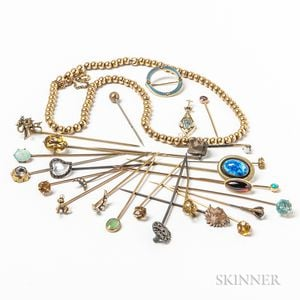 Group of Stickpins and a 14kt Gold Bead Necklace