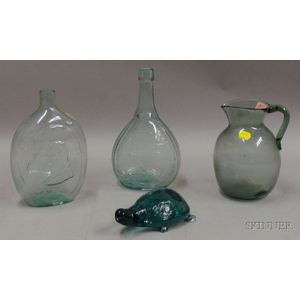 Four Aqua Blown and Molded Glass Articles