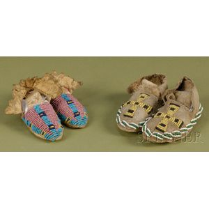 Two Pairs of Beaded Hide Baby Moccasins