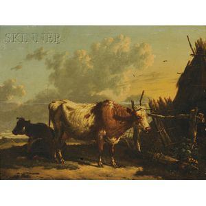 School of Paulus Potter (Dutch, 1625-1654)      Cattle in a Farmyard