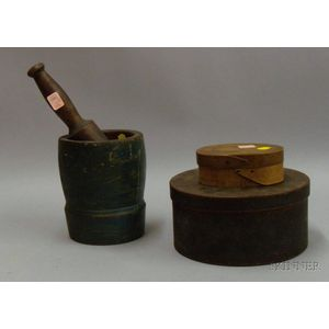 Green-painted Wooden Mortar with Pestle, a Small Oval Wooden Lap-sided Box with Cover, and a Green-painted Roun...