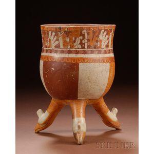 Pre-Columbian Polychrome Pottery Tripod Bowl