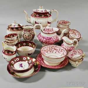 Forty-two Pink Lustre Tableware Items.