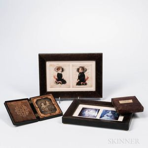 Miniature Watercolor Portraits of Samuel Gager III and Wealthy Ann Huntington, and Two Cased Photographs