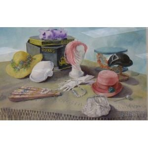 Framed Watercolor, Hats, by Adelaide R. Werger
