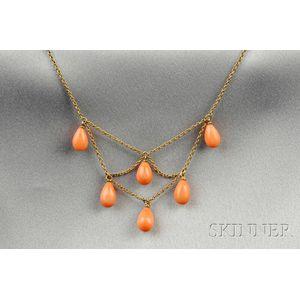Art Nouveau 14kt Gold and Coral Bib Necklace
