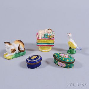 Two Enameled Patch Boxes and Three Ceramic Figures.     Estimate $300-500