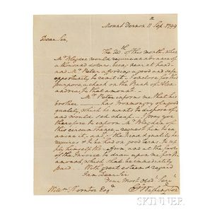 Washington, George (1732-1799) Autograph Letter Signed, Mount Vernon, 11 September 1799.