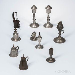 Ten Mostly Pewter Fluid Lamps