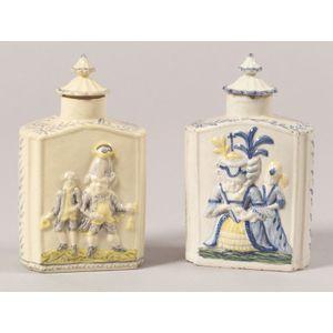 Two Staffordshire Prattware Pottery Tea Caddies